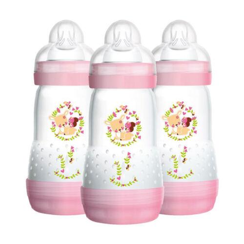3 Pack MAM Newborn Baby Girl Anti-Colic Self Sterilising Bottle Set Pink