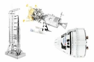 3 Metal Earth 3D Model Kits Apollo Saturn V Gantry, CSM w/ LM & Boeing Starliner
