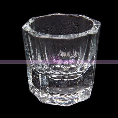 Crystal Octagonal Glass Cup Container For Arcylic Nail Art Powder Liquid Set Tip