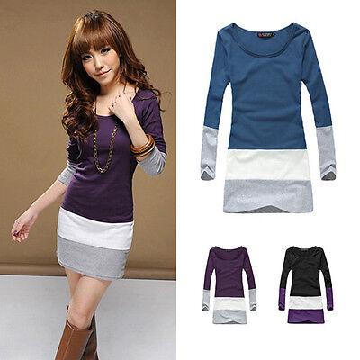 Women's Casual Scoop Neck Slim Stretch Blouse Tops Contrast Color Dress S-XL