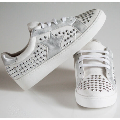 Girls Women/'s Ladies Trainers Flats Shinny Studs Star Sneakers Pumps Shoes Sizes