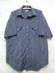 W4424-Large-Men-039-s-Falcon-Bay-Blue-Striped-Short-Sleeve-Button-Down-Shirt