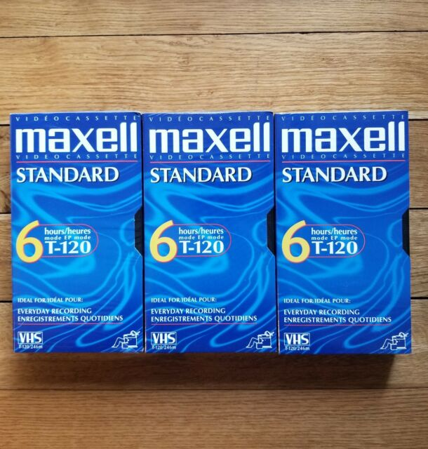 Maxell Standard Grade T-120 Blank VHS Recording Tapes New VCR Sealed Lot of 3
