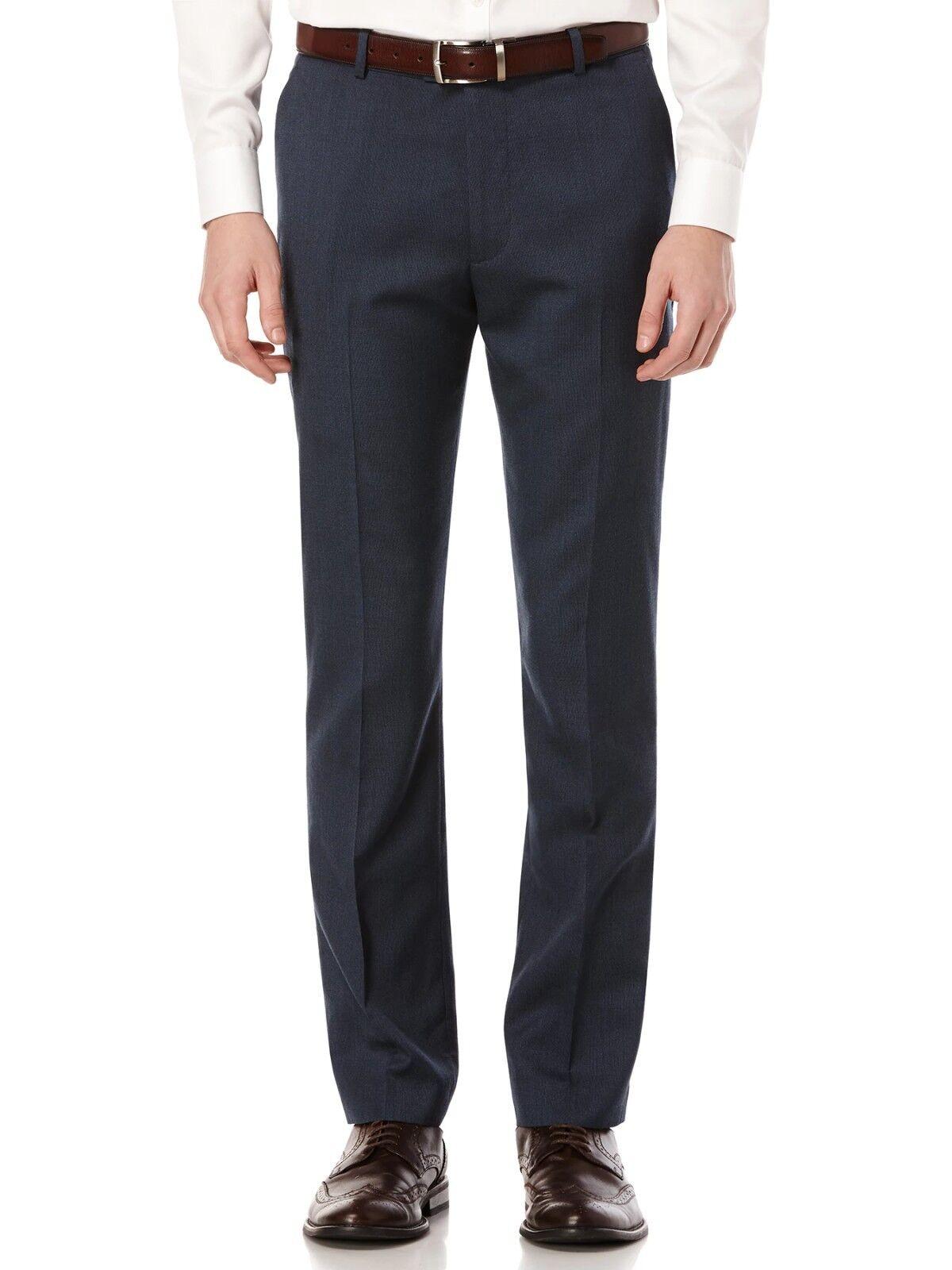 PERRY ELLIS PORTFOLIO men blueE SLIM FIT FLAT FRONT DRESS PANTS 36 W 30 L