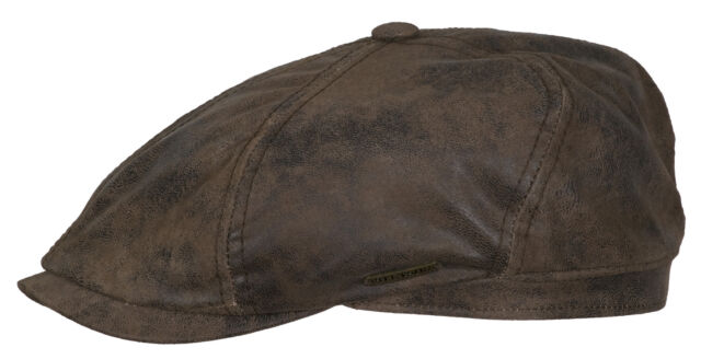 c9c066f8ba0 Stetson Leather Bakerboy Cap Hat Mc Cook BROOKLIN 62 Brown Antique Pig Skin  NEW