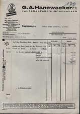 NORDHAUSEN, Rechnung 1931, Kautabak-Fabrik G. A. Hanewacker GmbH