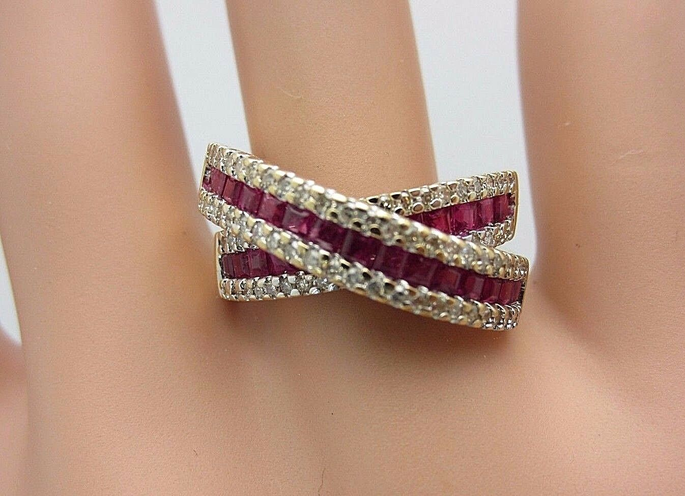 14k yellow gold ruby and diamond X ring