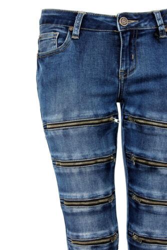 Womens Stretch Zip Art Jeans Stretch Fit Denim Stone Wash Q1747