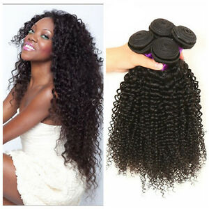 Image Is Loading 4 Bundles Kinky Curly Weave Human Hair Extensions