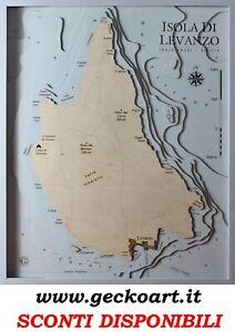 Isola di Levanzo Mappa Cartina 3D Quadro Moderno Map Chart | www.geckoart.it