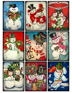 Retro Christmas.Details About 9 Vintage Retro Christmas Snowmen Hang Tags Scrapbooking Paper Craft 94