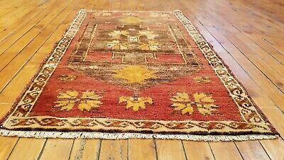 """Tribal Rug United Beautiful Vintage 1950-1960's Natural Dyed 1'10"""" × 3'1"""" Wool Pile Antiques"""