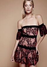 NWT Free People X For Love & Lemons pink black Embroidered Off Shoulder Dress XS