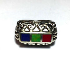925 SE STERLING SILVER TRIO RED BLUE GREEN ENAMEL FILIGREE RING BAND SIZE 6