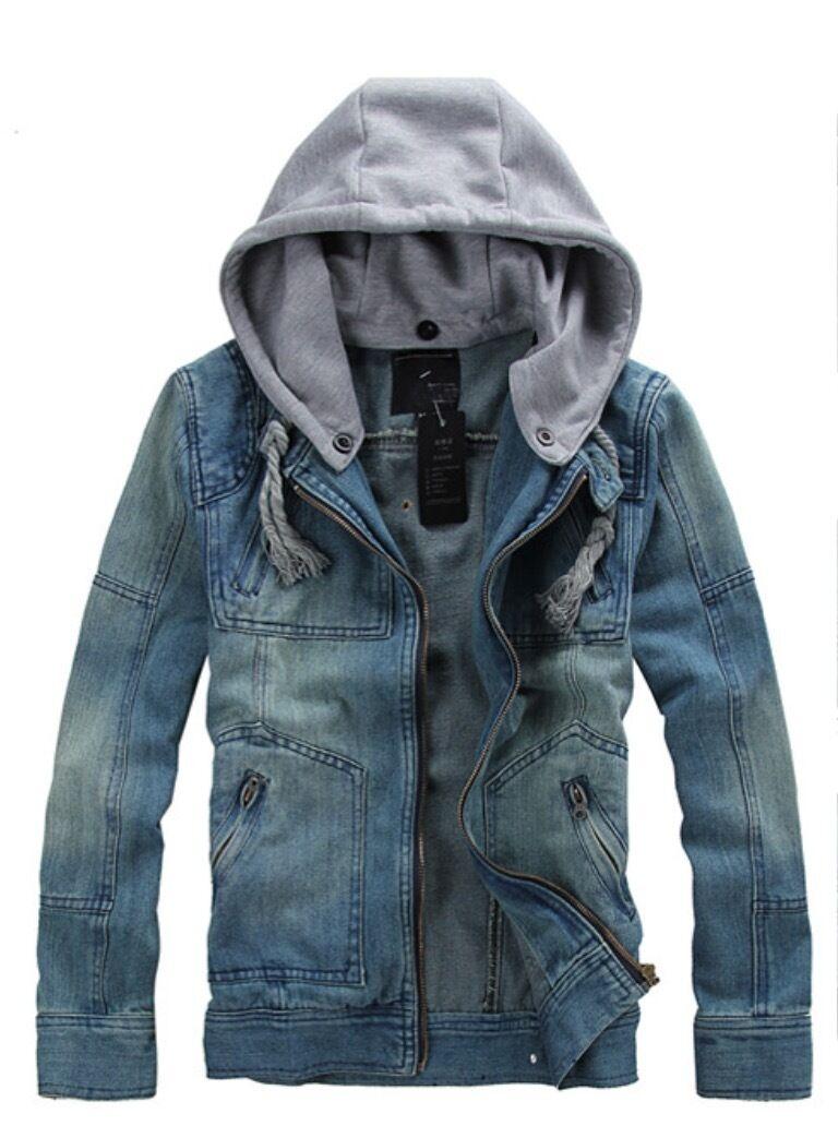 Men Denim Hoodie Jacket with Detactable grau Cotton Drawstring Hooded