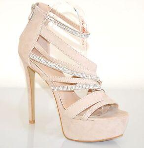 SANDALI BEIGE donna DECOLTE scarpe tacco alto STRASS plateau eleganti sera XA1