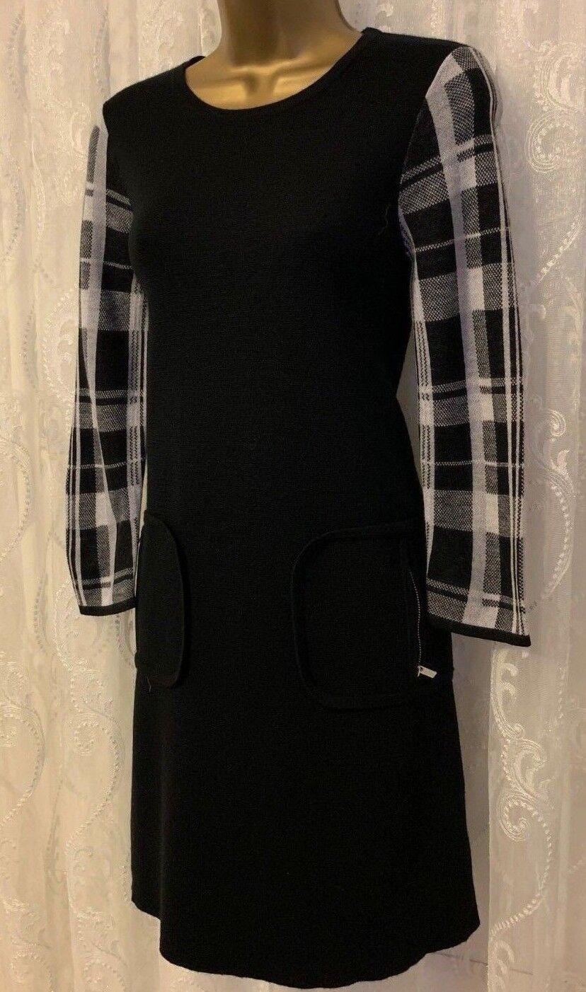 Karen Millen Feminine Check Panel Wool Knit Stretch Zip Jumper Dress UK 10 38
