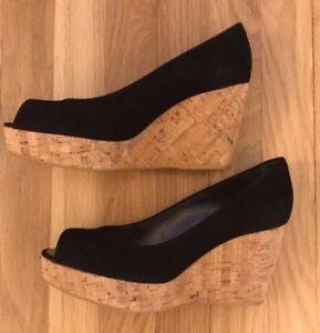 1ae45dfb757 NIB Stuart Weitzman Anna Open Toe Wedge - Black Suede - Size 8.5M