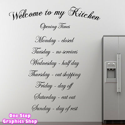 WELCOME TO MY KITCHEN WALL ART QUOTE STICKER -  KITCHEN DINING ROOM LOVE DECAL