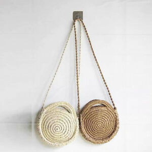 paille r tro femmes sac rotin tiss rond sac main vintage tricot messager ebay. Black Bedroom Furniture Sets. Home Design Ideas