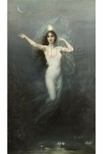 VINTAGE WITCH MOON STARS NUDE WATERLILIES POND WICCA WITCHCRAFT CANVAS ART PRINT