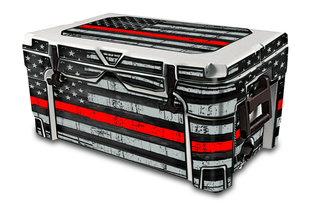 USATuff Decal Wrap Full Kit passar IGLOO Sportsman 55qt Cooler USA röd Line Flag