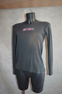 TOP-TEE-SHIRT-SONIA-RYKIEL-HAUT-MAGLIA-COTON-STRASS-TAILLE-M-38-BE