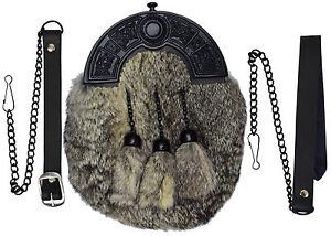 komplettes Kleid kilt Felltasche grau Kaninchenfell schwarz Keltischer Knoten /