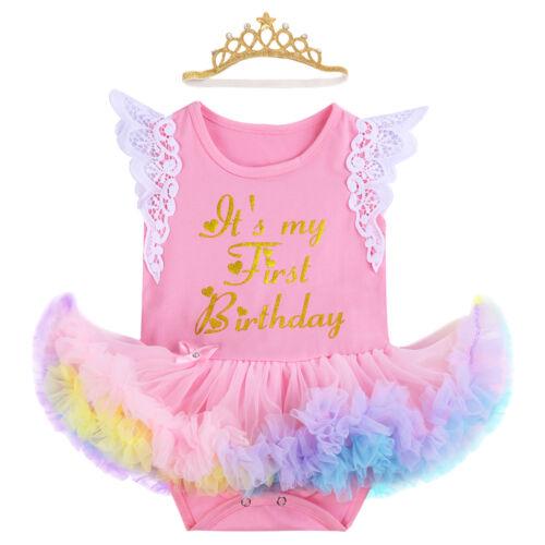 Couronne Bandeau Tenue de fête Mon Premier 1st Anniversaire Bébé fille ange robe tutu