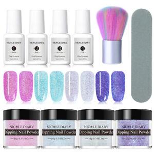10Pcs-NICOLE-DIARY-Nail-Art-Dipping-Glitter-Powder-Nail-Dip-Liquid-Brushes-Kit