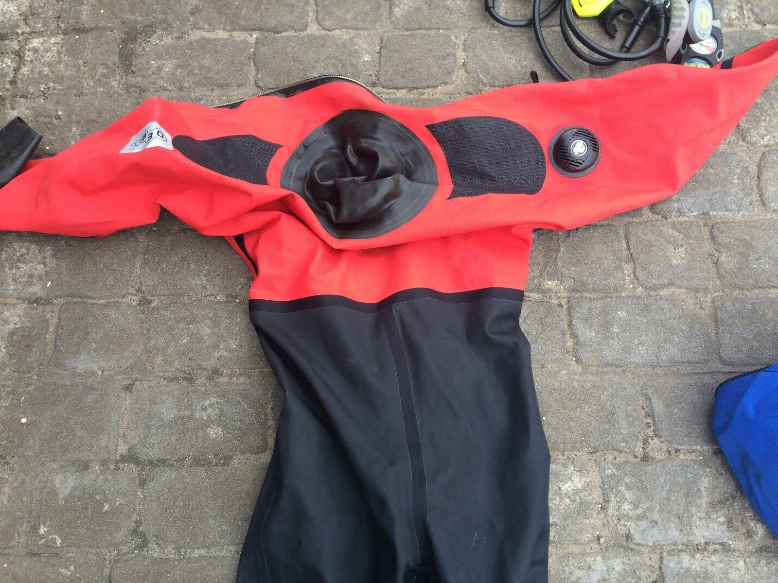 DRY SUITS FOR A LADY M blueE & GENT XL RED, WEIGHTS, REGULATORS, STAB VESTS  X 2