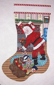 KW-1309-Santa-Claus-amp-Toys-Christmas-Stocking-Hand-Painted-Needlepoint-Canvas