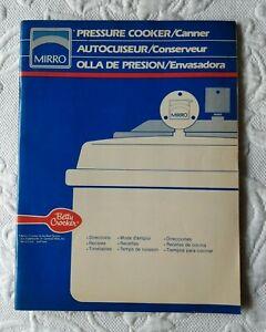 MIRRO-MATIC Pressure Cooker Owners Manual Recipe ...