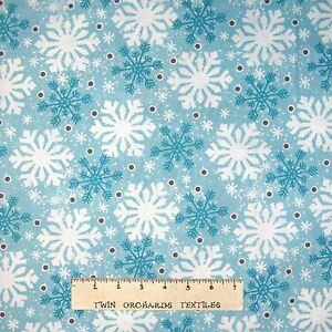 Christmas Peppermint Santa Cotton Fabric Snowflake Toss Cream Wilmington ~ Yard