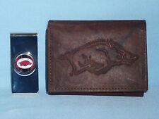 Arkansas Razorbacks Leather Trifold Wallet   Money Clip Gift Set DKB 3v 8b609b39e