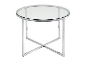 Round-Glass-Side-End-Coffee-Table-Sofa-Lamp-Modern-Chrome-Living-Room-Furniture