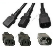 4ft Power Y Cable/Cord/Wire~2Devices/PC/Printer/Computer splitter$SHdi{C14~2C13