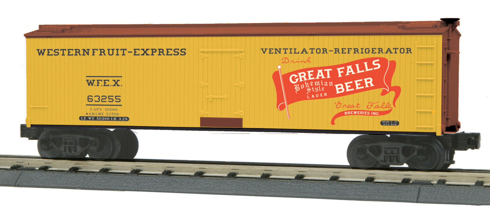 MTH Railking O Trains Great Falls Beer 40' Woodsided Reefer Car 30-78175