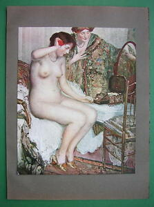 NUDE-Young-Maiden-Morning-Toilette-COLOR-Antique-Print