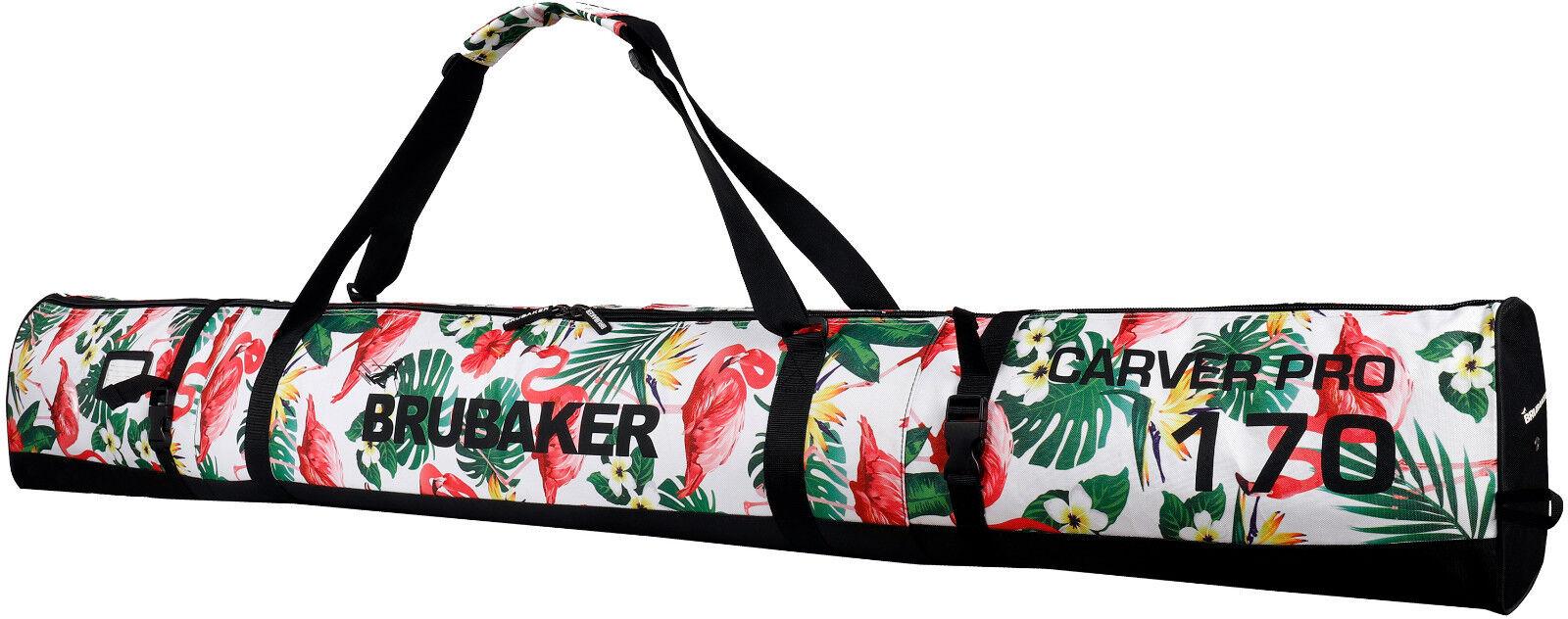 BRUBAKER 'Spotlight' Single Ski Bag Padded for 1 Pair of Skis 170 cm - Flamingos