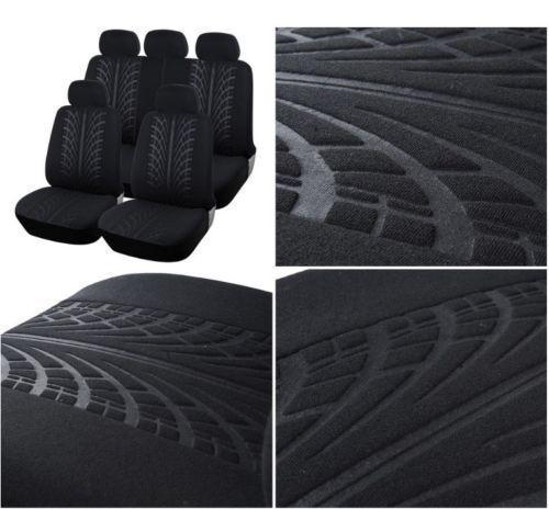 Per Jeep VW Citroen Coprisedili Neri 9 Pezzi  Nero Tessuto Auto Set