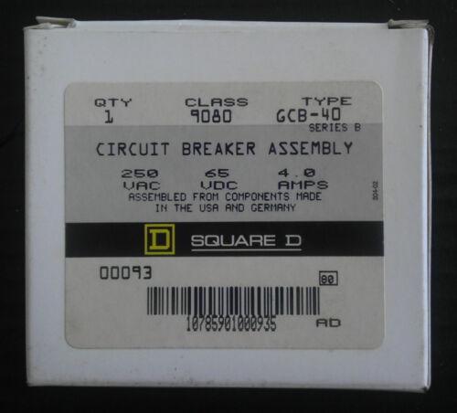 Square D 9080GCB-40 Circuit Protector Breaker 250VAC 4.0Amp 65VDC NEW IN BOX