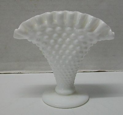White Milk Glass Hobnail Fan Vase with Ruffles Fluted Vintage