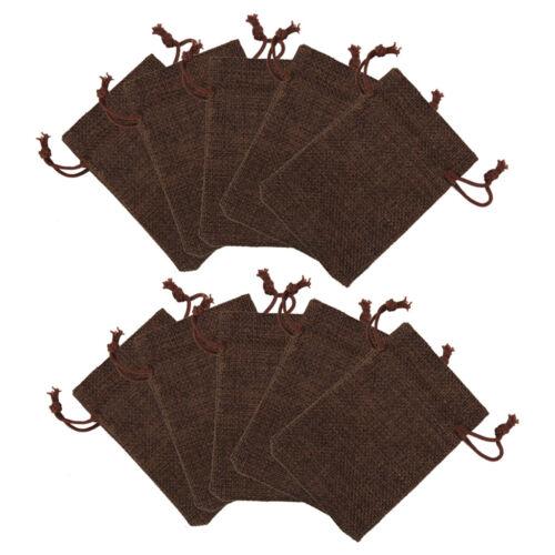 10pcs Vintage Natural Burlap Linen Jute Bags With Drawstring Wedding Favor Bags