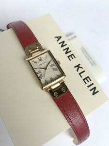 Anne Klein Watch * 3752CRRD Gold Rectangular Dial Red Leather for Women