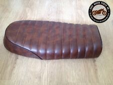 BROWN FLAT STYLE LEATHER LOOK CAFE RACER SEAT +MULTI FIT BRACKETS *  PROJECT KIT