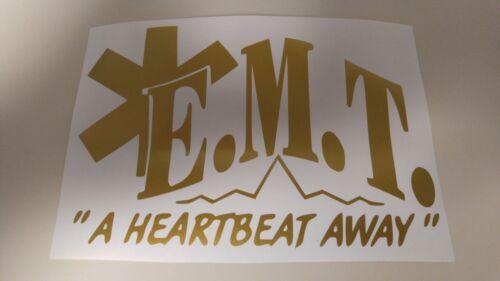"Window Toolbox Sticker #76 EMT Emergency Medical Tech /""A Heartbeat Away/"" Sticker"