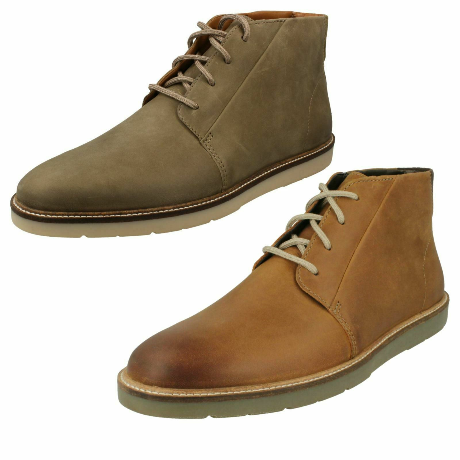 Mens-Clarks Casual Lace Up Chukka Stiefel Grandin Mid