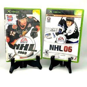 NHL 2003 + 06 Xbox Original Hockey Game Bundle EA Sports Tested Complete CIB