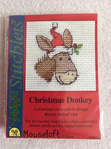 Mouseloft stitchlets Cross Stitch Kit ~ Navidad Burro ~ Nuevo